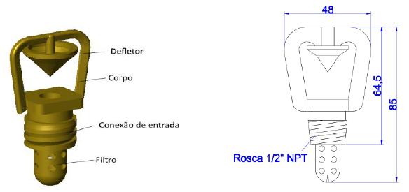 Detalhes do bico projetor